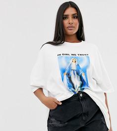 "Oversize-футболка с принтом ""in girl we trust"" и отделкой стразами New Girl Order Curve-Белый"