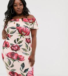 Розовое платье со спущенными плечами и поясом Simply Be-Мульти