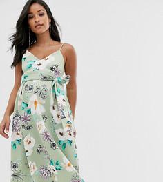 Платье миди для выпускного с вырезом сердечком и цветочным принтом ASOS DESIGN Maternity-Черный