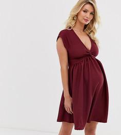 Фактурное короткое приталенное платье мини с перекрутом ASOS DESIGN Maternity-Красный