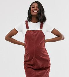 Вельветовое платье мини Mamalicious-Красный Mama.Licious