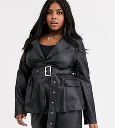 Пиджак из искусственной кожи с поясом Neon Rose Plus-Черный