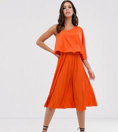 Плиссированное платье миди на одно плечо ASOS DESIGN Tall-Оранжевый