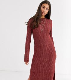 Коричневое платье миди с разрезами по бокам Vero Moda Tall-Коричневый