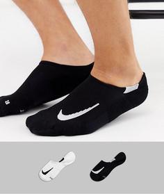 Набор из 2 пар невидимых носков с логотипом Nike Running-Белый