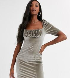 Серебристое бархатное платье мини Missguided Tall-Бежевый
