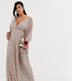Серо-коричневое платье макси с запахом и пайетками Maya Plus - Bridesmaid-Коричневый