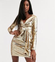 Золотистое платье-смокинг мини с пайетками TFNC Tall-Красный