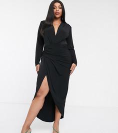 Черное платье макси с запахом John Zack Plus-Черный