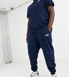 Темно-синие зауженные джоггеры Puma - PLUS Essentials-Темно-синий
