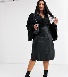 Полиуретановая юбка миди Religion Plus-Черный