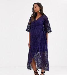 Кружевное платье миди с запахом ASOS DESIGN Maternity-Темно-синий