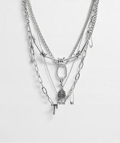 Серебристое ярусное ожерелье с подвесками ASOS DESIGN-Серебряный