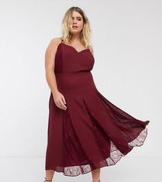 Платье миди с кружевной отделкой ASOS DESIGN Curve-Красный