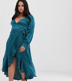 Атласное платье с запахом Club L London Plus-Синий