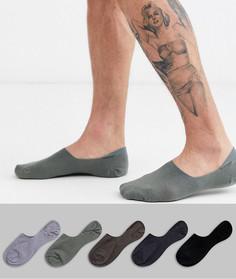 5 пар невидимых носков ASOS DESIGN - Скидка-Мульти