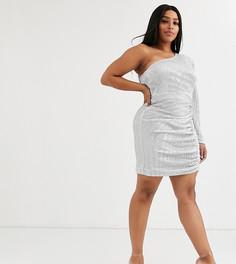 Платье мини на одно плечо с пайетками Lavish Alice Plus-Серебряный