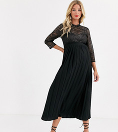 Плиссированное черное платье миди Little Mistress Maternity-Черный