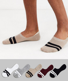5 пар невидимых носков с полосками ASOS DESIGN - Скидка-Мульти