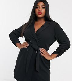 Черное платье-смокинг с поясом Simply Be-Черный