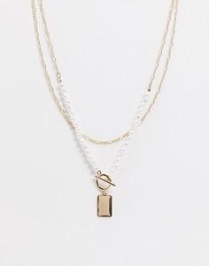 Золотистое ярусное ожерелье с искусственным жемчугом Topshop-Золотой
