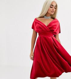 Бархатное платье для выпускного миди со спущенным плечом и поясом ASOS DESIGN Petite-Красный