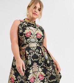 Жаккардовое приталенное платье мини с принтом Chi Chi London Plus-Мульти