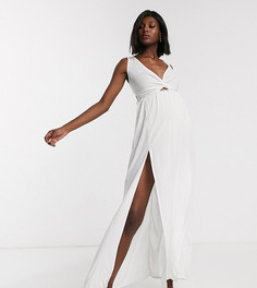 Белое пляжное платье макси с поясом на спине ASOS DESIGN MATERNITY-Белый