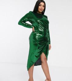 Зеленое облегающее платье макси со сборками и пайетками John Zack Plus-Зеленый