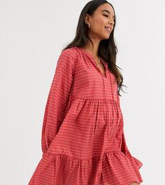 Фактурное ярусное платье-трапеция мини ASOS DESIGN Maternity-Красный