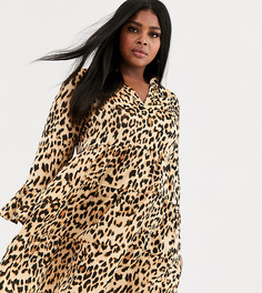 Красное свободное многоярусное платье с леопардовым принтом AX Paris Plus-Мульти