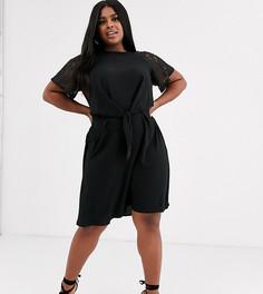 Платье с кружевными рукавами и узлом спереди Lovedrobe-Черный