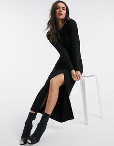 Черное ультрамягкое платье макси с открытой спиной ASOS DESIGN-Черный