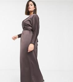 """Атласное платье макси с запахом и рукавами """"летучая мышь"""" ASOS DESIGN Curve-Коричневый"""