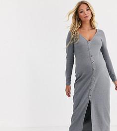 Платье макси из вафельного трикотажа на пуговицах ASOS DESIGN Maternity-Серый