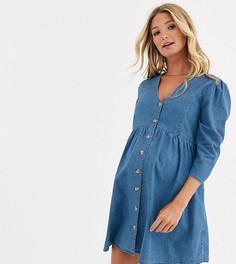 Синее джинсовое чайное платье ASOS DESIGN Maternity-Синий