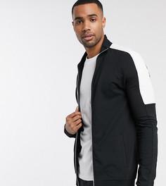 Обтягивающая спортивная куртка черного цвета с белыми полосами по бокам ASOS DESIGN Tall-Черный