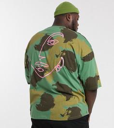 Oversize-футболка из органического хлопка с камуфляжным принтом ASOS DESIGN Plus-Зеленый