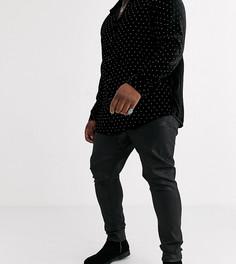 Черные супероблегающие джинсы из искусственной кожи с покрытием ASOS DESIGN Plus-Черный