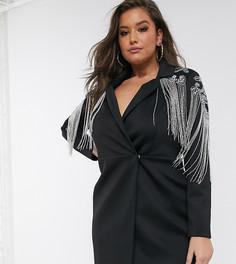 Платье-смокинг мини с отделкой ASOS DESIGN Curve-Черный