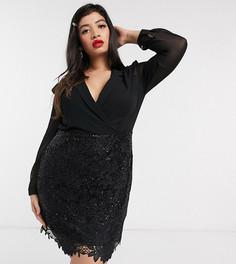 Черное платье‑смокинг мини 2 в 1 Paper Dolls Plus-Мульти