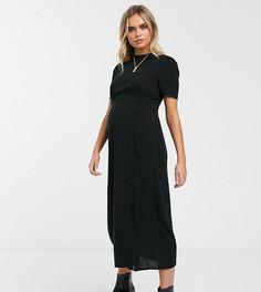 Чайное платье миди с пуговицами ASOS DESIGN Maternity-Черный