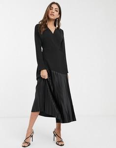 Черное плиссированное платье миди с запахом ASOS DESIGN-Черный