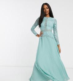 Кружевное платье макси со вставками и плиссированной юбкой ASOS DESIGN-Синий