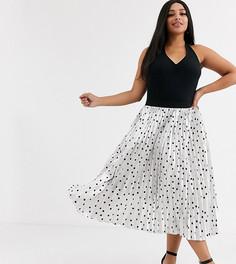 Плиссированная юбка миди в горошек Outrageous Fortune Plus-Мульти