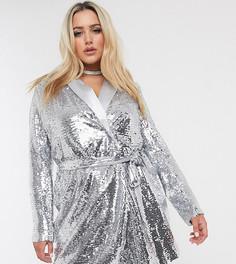 Серебристое платье-пиджак с пайетками Unique 21-Серебряный Unique21 Hero