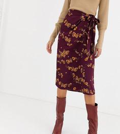 Юбка миди с цветочным принтом и поясом Vero Moda Tall-Фиолетовый