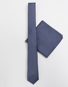 Темно-серый атласный узкий галстук и платок для нагрудного кармана ASOS DESIGN