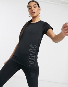 Черная футболка с логотипом Puma Running-Черный