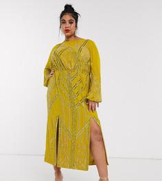 Платье миди с рукавом на манжете и отделкой ASOS DESIGN Curve-Желтый